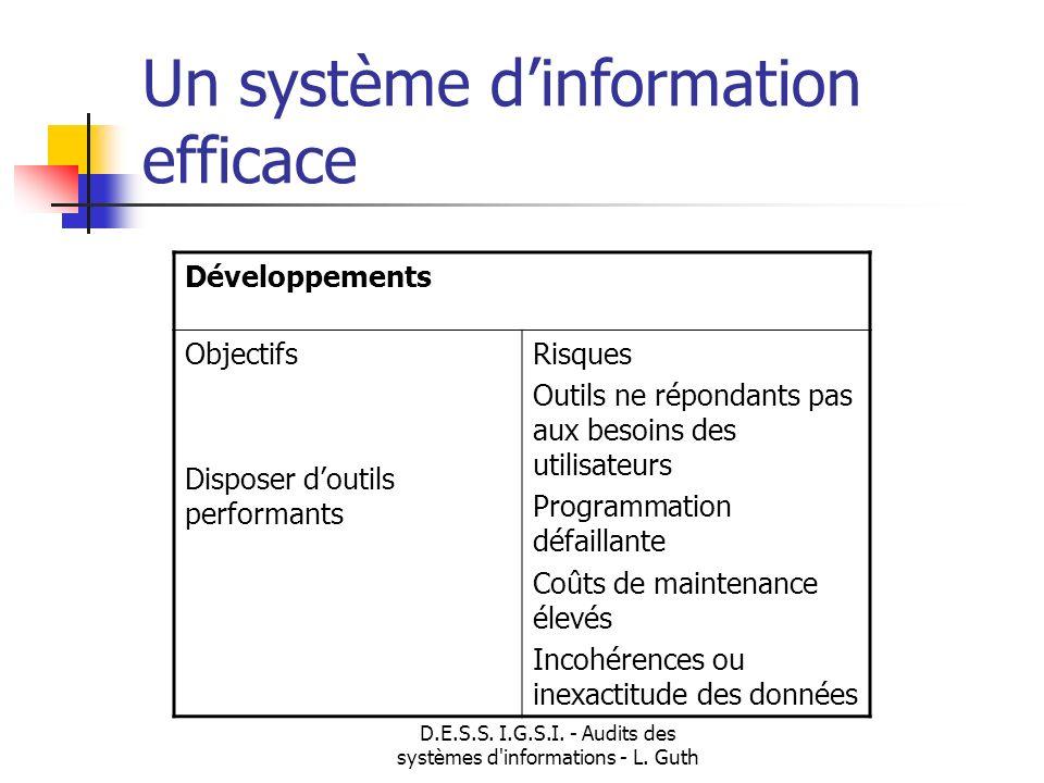 D.E.S.S. I.G.S.I. - Audits des systèmes d'informations - L. Guth Un système dinformation efficace Développements Objectifs Disposer doutils performant