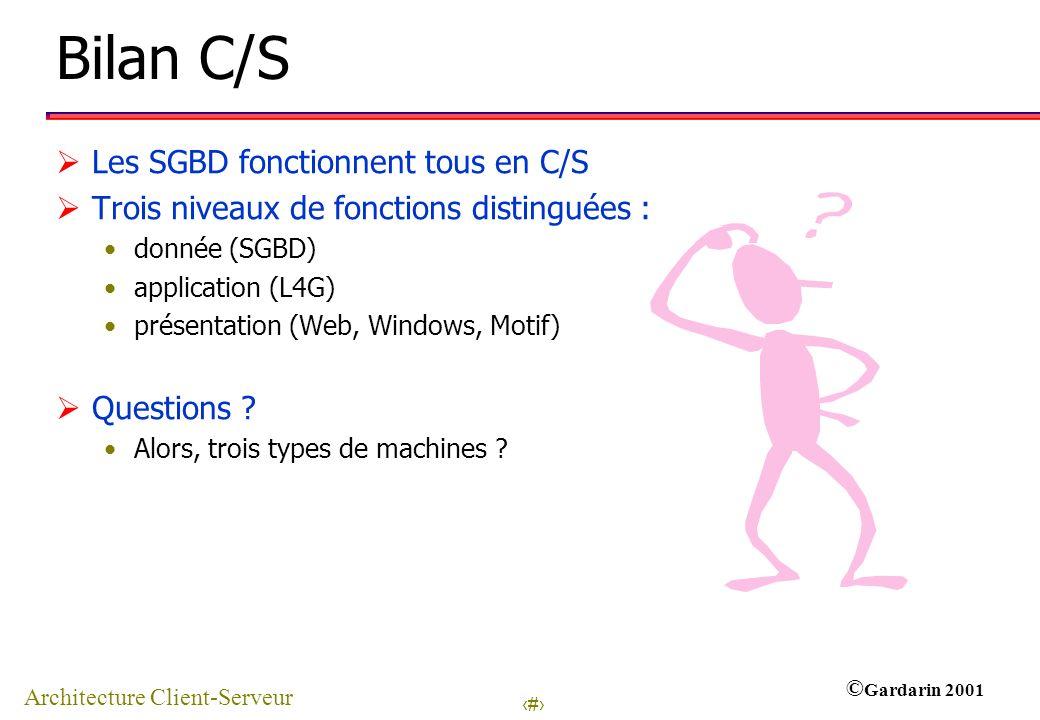 15 © Gardarin 2001 Bilan C/S Les SGBD fonctionnent tous en C/S Trois niveaux de fonctions distinguées : donnée (SGBD) application (L4G) présentation (Web, Windows, Motif) Questions .