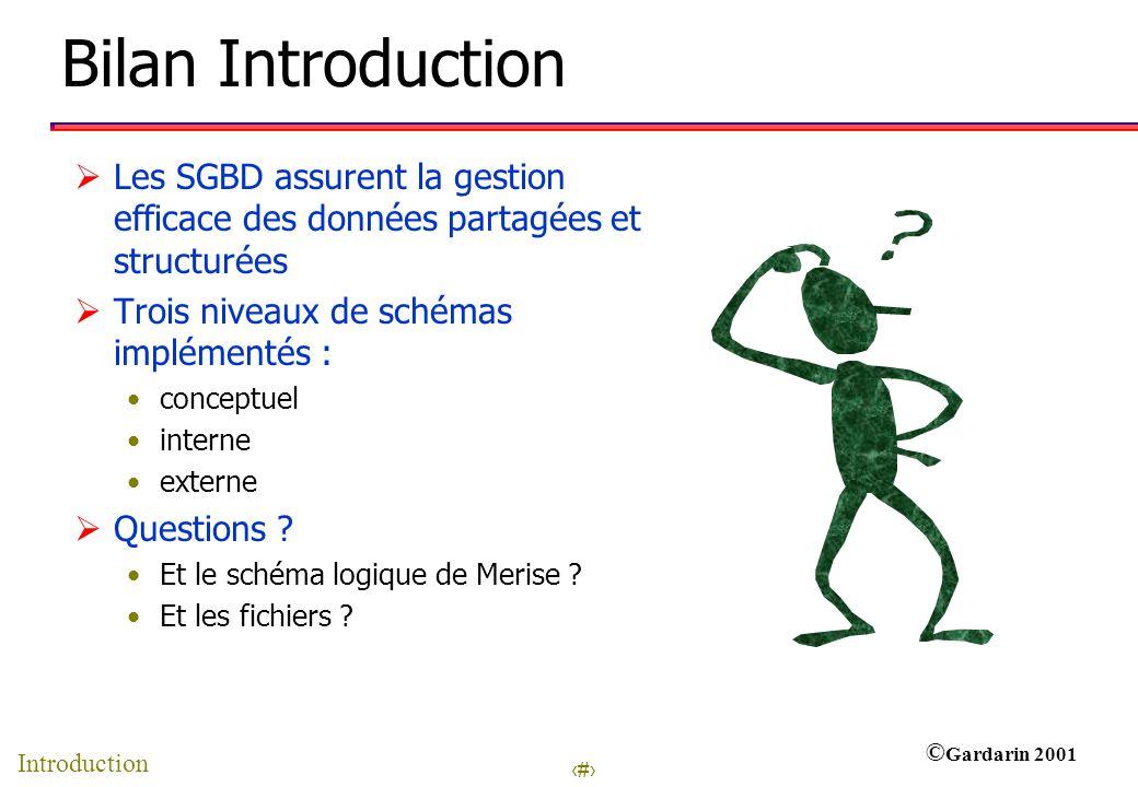 8 © Gardarin 2001 Bilan Introduction Les SGBD assurent la gestion efficace des données partagées et structurées Trois niveaux de schémas implémentés : conceptuel interne externe Questions .