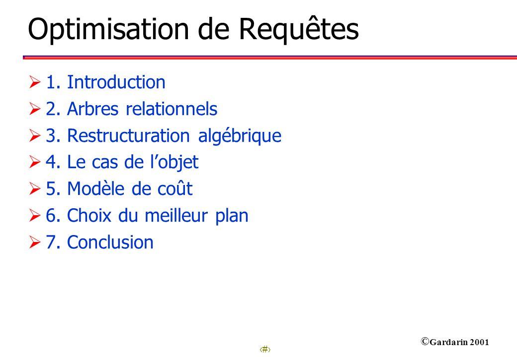 1 © Gardarin 2001 Optimisation de Requêtes 1. Introduction 2. Arbres relationnels 3. Restructuration algébrique 4. Le cas de lobjet 5. Modèle de coût