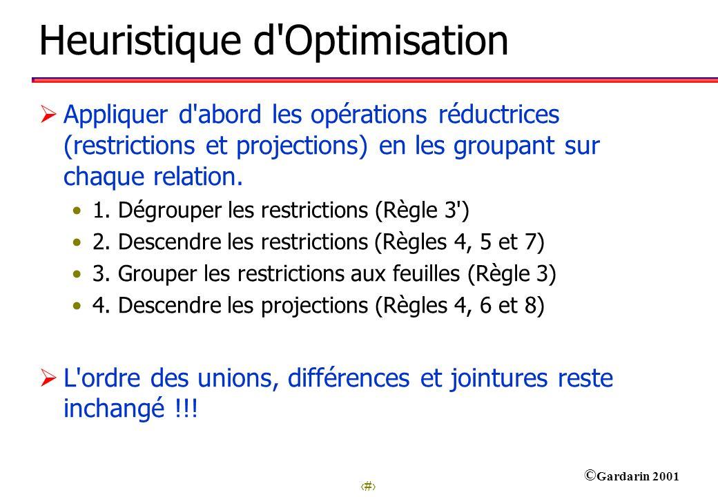 15 © Gardarin 2001 Heuristique d'Optimisation Appliquer d'abord les opérations réductrices (restrictions et projections) en les groupant sur chaque re