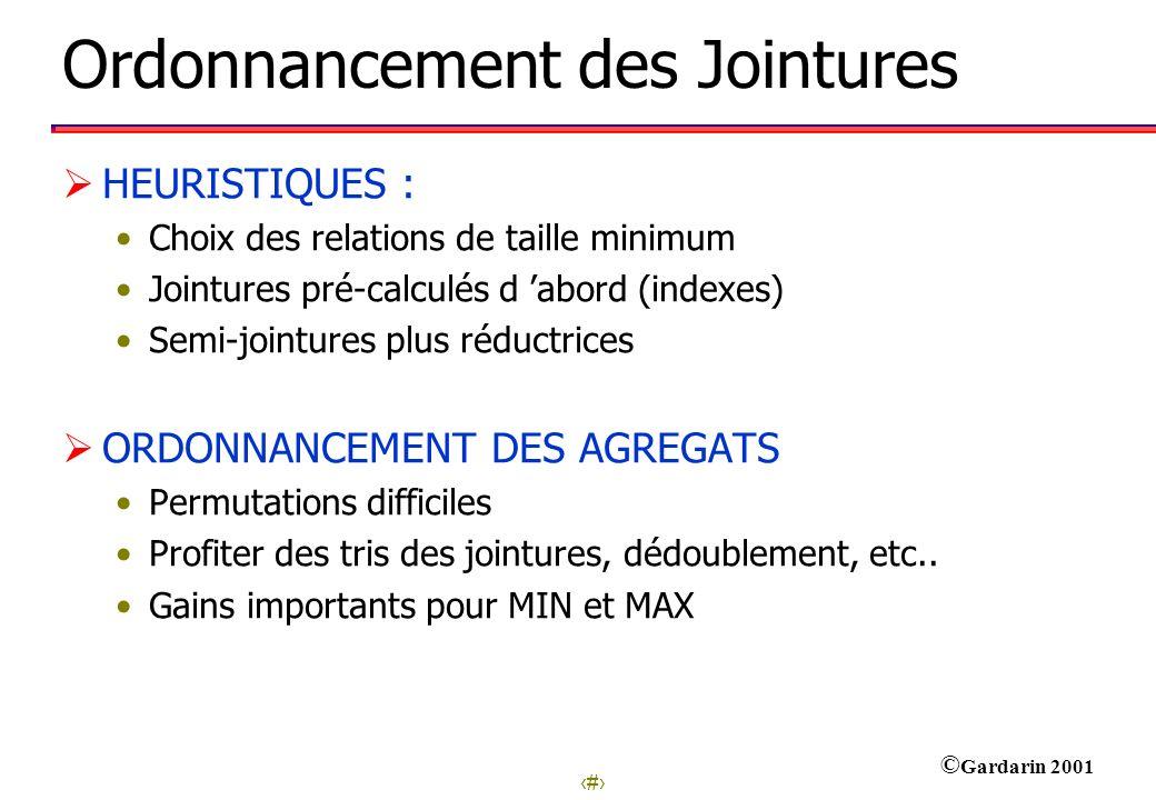 17 © Gardarin 2001 Ordonnancement des Jointures HEURISTIQUES : Choix des relations de taille minimum Jointures pré-calculés d abord (indexes) Semi-joi