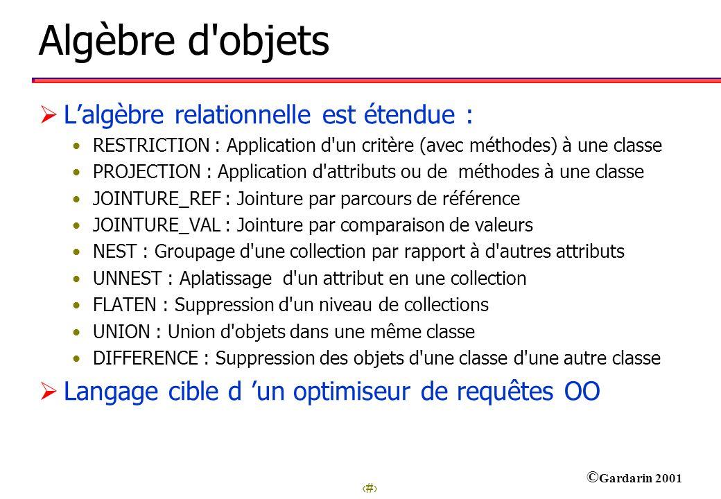 19 © Gardarin 2001 Algèbre d'objets Lalgèbre relationnelle est étendue : RESTRICTION : Application d'un critère (avec méthodes) à une classe PROJECTIO