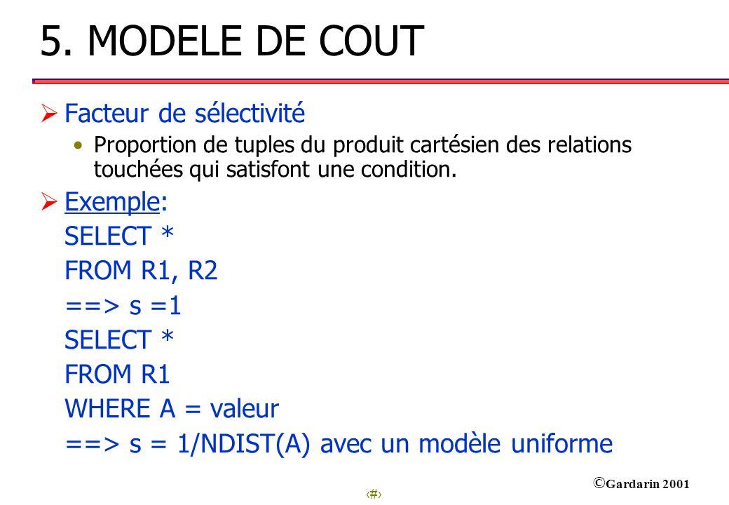22 © Gardarin 2001 5. MODELE DE COUT Facteur de sélectivité Proportion de tuples du produit cartésien des relations touchées qui satisfont une conditi