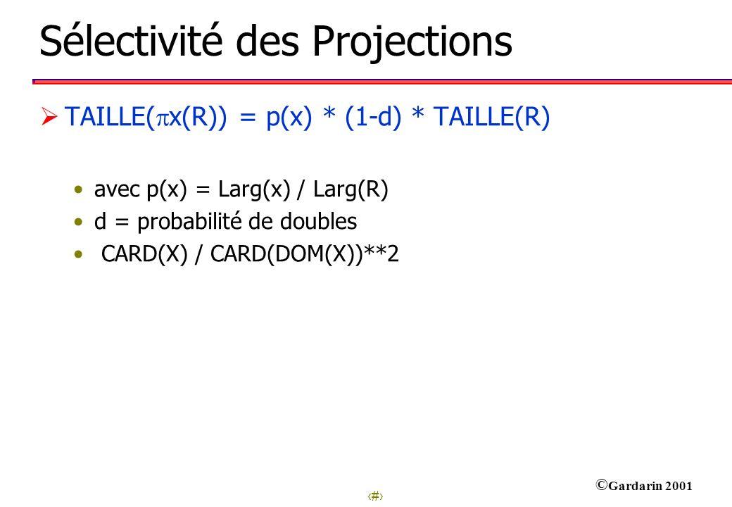 24 © Gardarin 2001 Sélectivité des Projections TAILLE( x(R)) = p(x) * (1-d) * TAILLE(R) avec p(x) = Larg(x) / Larg(R) d = probabilité de doubles CARD(