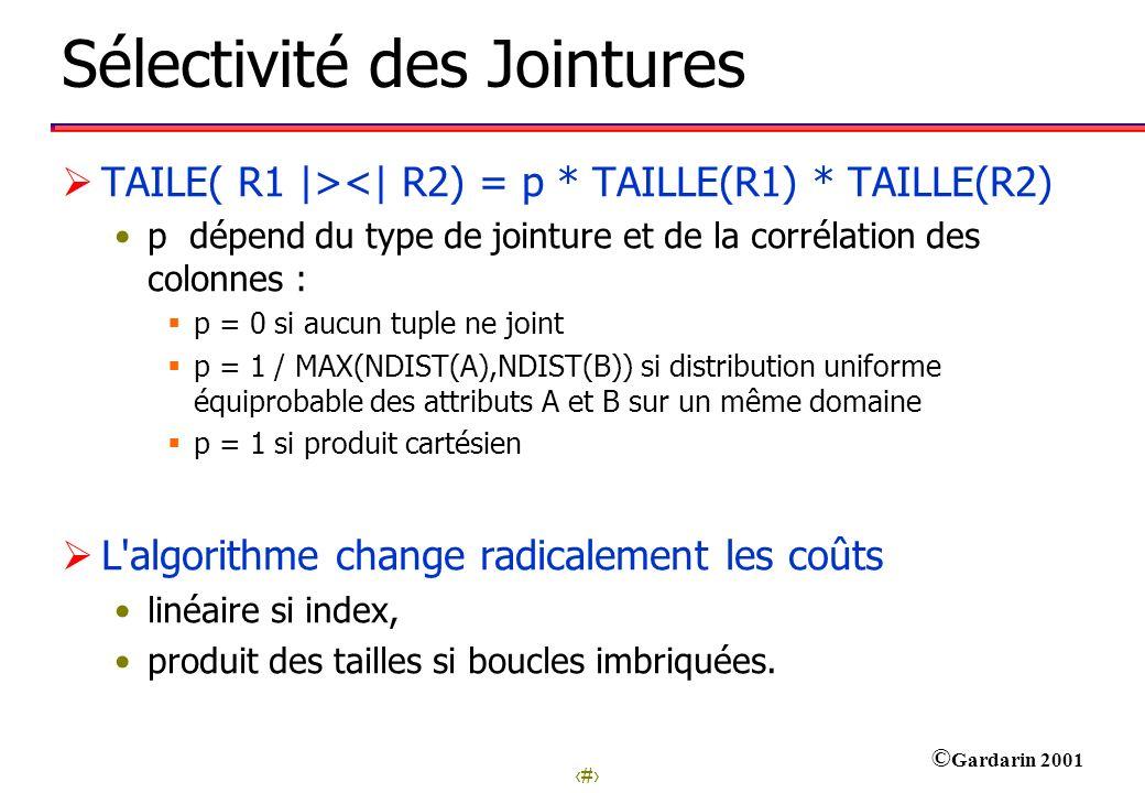 25 © Gardarin 2001 Sélectivité des Jointures TAILE( R1 |><| R2) = p * TAILLE(R1) * TAILLE(R2) p dépend du type de jointure et de la corrélation des co