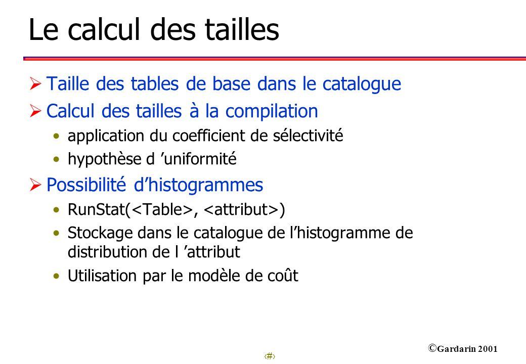 26 © Gardarin 2001 Le calcul des tailles Taille des tables de base dans le catalogue Calcul des tailles à la compilation application du coefficient de
