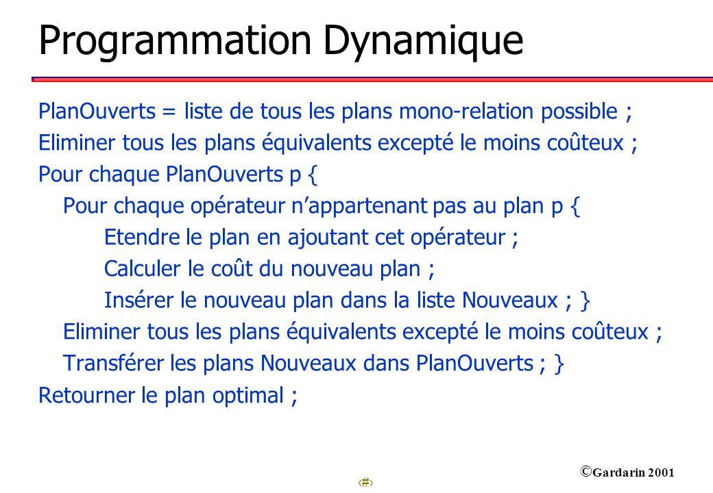 29 © Gardarin 2001 Programmation Dynamique PlanOuverts = liste de tous les plans mono-relation possible ; Eliminer tous les plans équivalents excepté