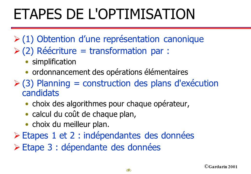3 © Gardarin 2001 ETAPES DE L'OPTIMISATION (1) Obtention dune représentation canonique (2) Réécriture = transformation par : simplification ordonnance