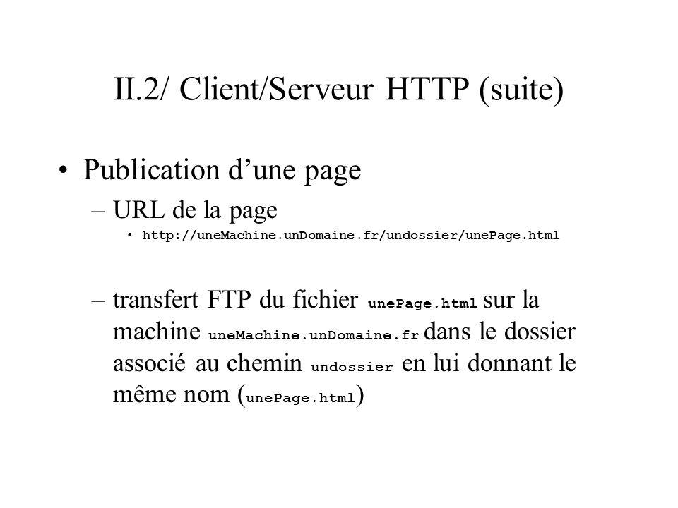 II.2/ Client/Serveur HTTP (suite) Publication dune page –URL de la page http://uneMachine.unDomaine.fr/undossier/unePage.html –transfert FTP du fichie