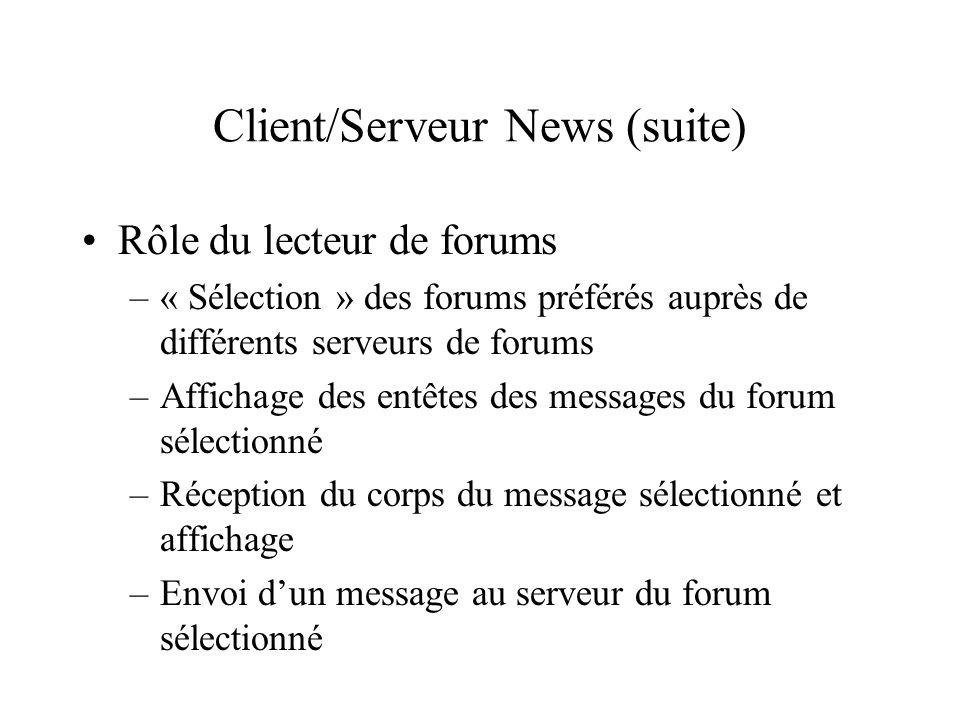 Rôle du lecteur de forums –« Sélection » des forums préférés auprès de différents serveurs de forums –Affichage des entêtes des messages du forum séle