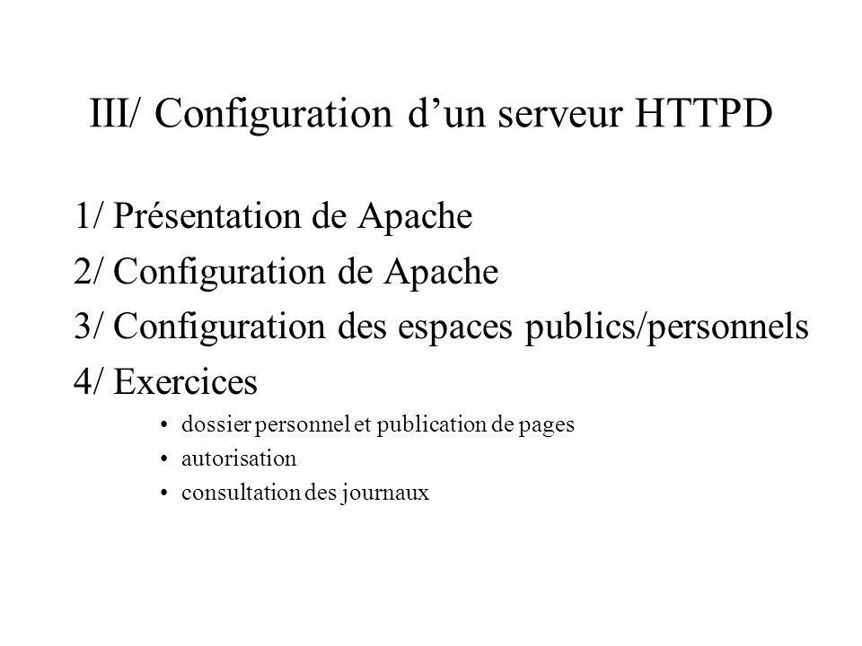 III.1/ Présentation de Apache Serveur HTTP Plates-formes : Windows 9x/NT, Unix (Linux),… logiciel libre : programme source accessible et distribué avec la licence GNU Serveur rapide et stable utilisé sur plus de 6 millions de serveurs
