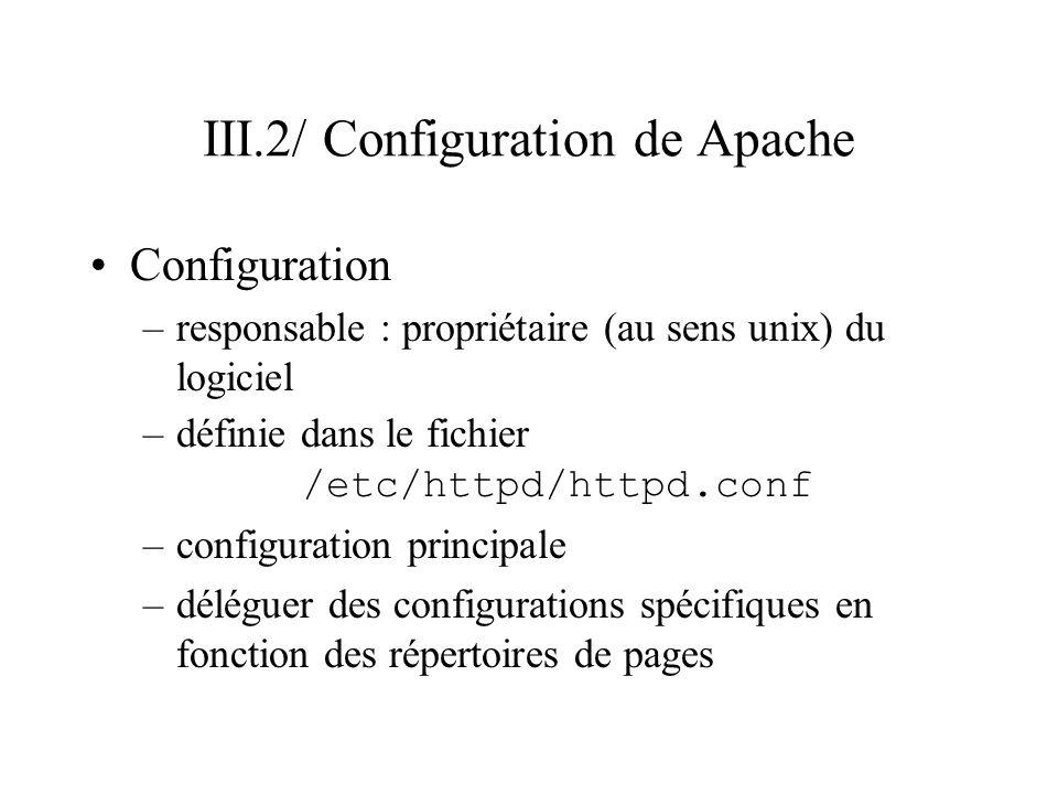 III.2/ Configuration de Apache (suite) Structure du fichier httpd.conf : –document texte avec des lignes de commentaires et des lignes de configuration ligne de commentaire –débute par un # ligne de configuration –MotClef Valeur ex: # Adresse du fichier derreur ErrorLog /var/log/httpd/error_log