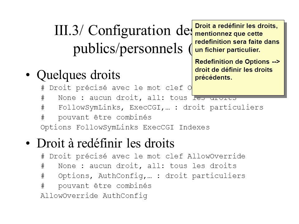 III.3/ Configuration des espaces publics/personnels (suite) Restriction daccès au répertoire –Autorisation ou restriction par machine ou domaine (autoriser quelques machines ou interdire quelques machines).