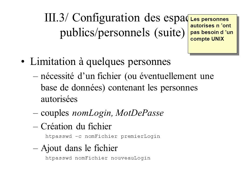III.3/ Configuration des espaces publics/personnels (suite) Limitation à quelques personnes –Directive pour spécifier le fichier des personnes autorisées (rappel : entre les balises ) # Nom du fichier contenant les logins AuthUserFile nomFichier