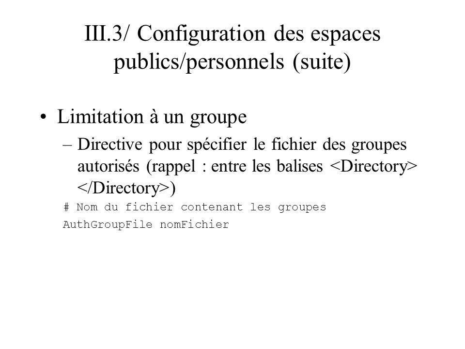 III.3/ Configuration des espaces publics/personnels (suite) Configuration de lespace personnel –Autorisation de la configuration d un dossier est donné dans le httpd.conf avec la clause AllowOverride (cf.
