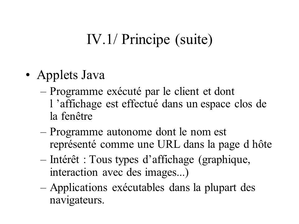 IV.1/ Principe (suite) Applets Java –Programme exécuté par le client et dont l affichage est effectué dans un espace clos de la fenêtre –Programme aut