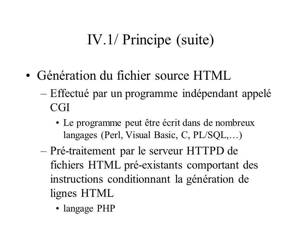IV.1/ Principe (suite) Génération du fichier source HTML –Effectué par un programme indépendant appelé CGI Le programme peut être écrit dans de nombre