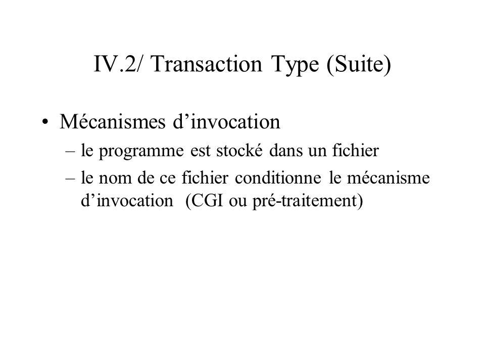 IV.2/ Transaction Type (Suite) Invocation du CGI –Deux types de programmes CGI exécutable (ex: extension.exe sous W9x) : le programme est lancé interprété (ex : extension.cgi) : les premières lignes du programme spécifie l interprète à utiliser