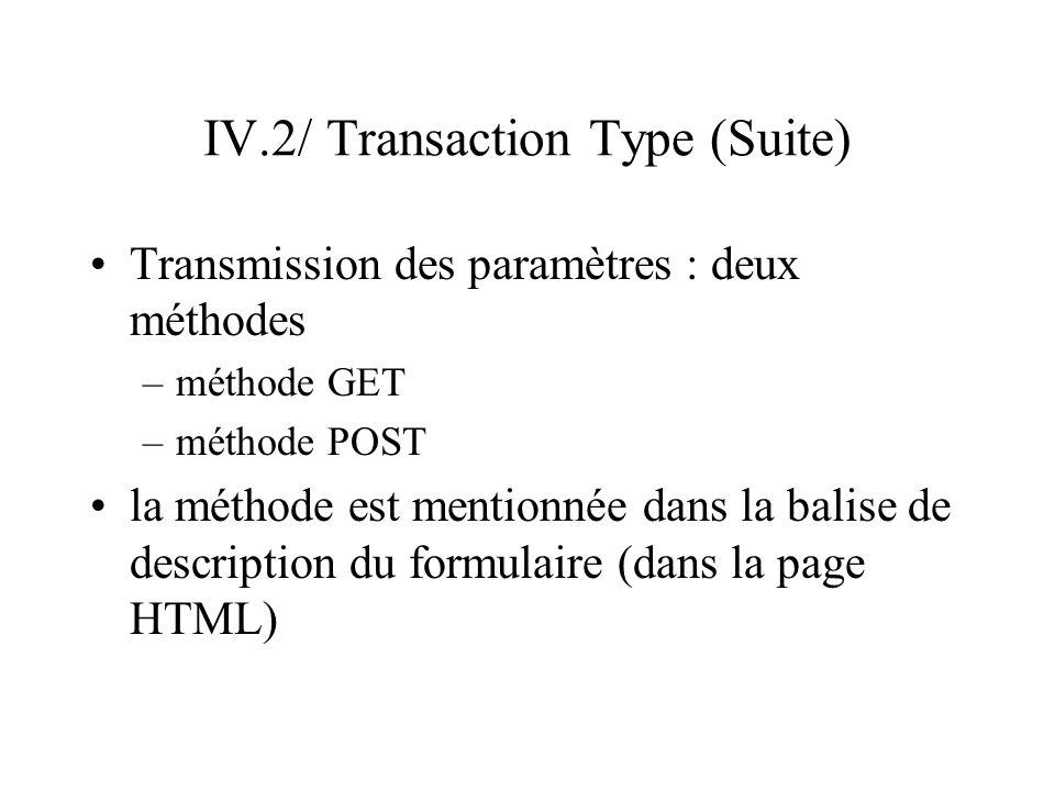 IV.2/ Transaction Type (Suite) Méthode GET –les paramètres sont transférés dans l URL du CGI (paramètres visibles) –ex : monCGI.cgi?nom=Martin&prenom=Jean Méthode POST –les paramètres sont transférés dans le corps de la requête (comme dans un fichier) : les paramètres ne sont pas visibles –ex : monCGI.cgi … nom=Martin&prenom=Jean