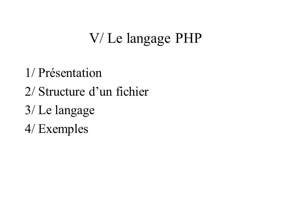V.1/ Présentation du langage Langage récent : 1994 Première version « mature » : PHP3 Version actuelle : PHP4 Utilisé par plusieurs millions de sites.