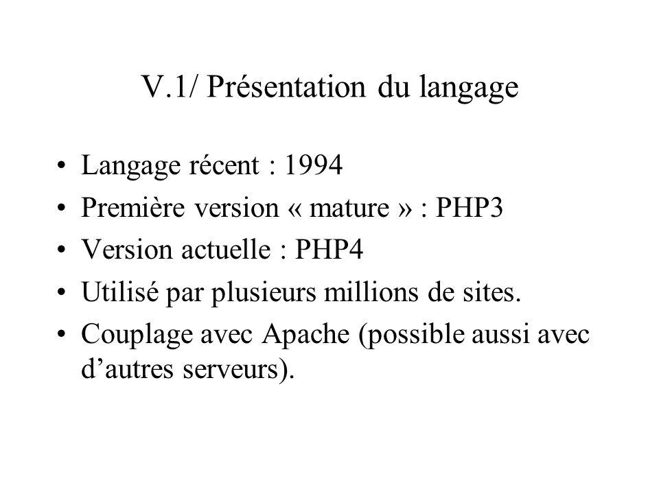 V.1/ Présentation du langage (suite) Interprète PHP : module de Apache instructions enchâssées dans le fichier HTML instructions à pré-traiter sont identifiées par des balises Traitement sur le serveur (contrairement à JavaScript) Dans la page affichée dans le client, on ne voit pas le PHP