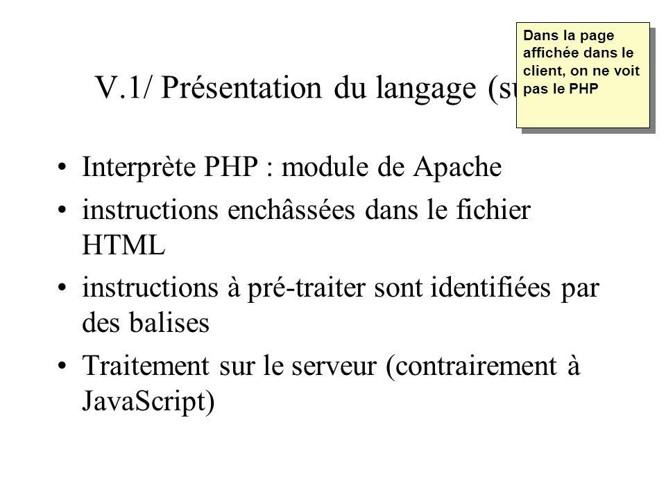 V.1/ Présentation du langage (suite) Interprète PHP : module de Apache instructions enchâssées dans le fichier HTML instructions à pré-traiter sont id