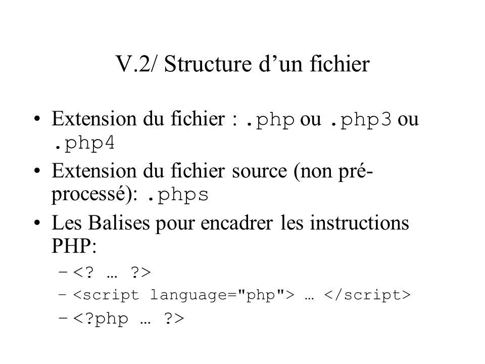 V.2/ Structure dun fichier Extension du fichier :.php ou.php3 ou.php4 Extension du fichier source (non pré- processé):.phps Les Balises pour encadrer