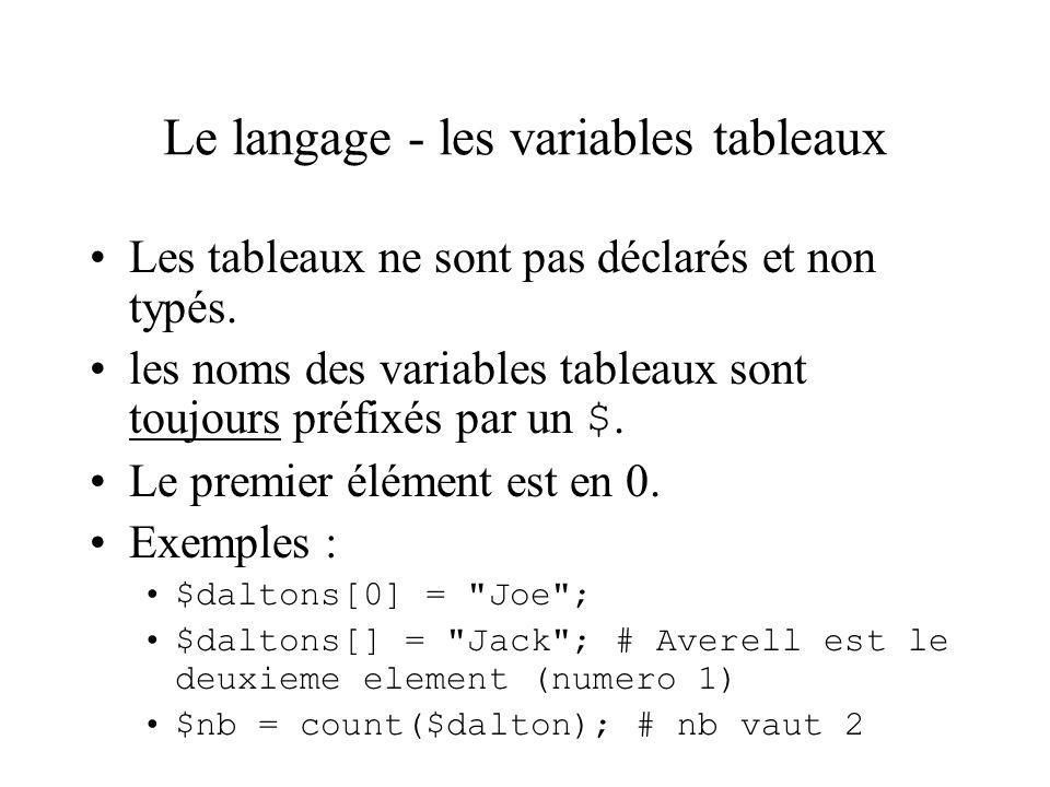Le langage - Les opérateurs Opérateur d affectation –$nomVar = expression Opérateurs arithmétiques –opérateurs binaires : +, -, *, / et % (modulo) –opérateur unaires : ++ et -- $i = 0; $j = $i++; # i et j valent 1 $i--; # i vaut 0