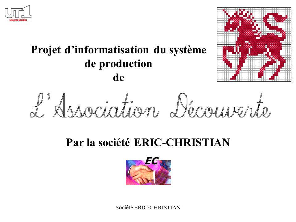 Société ERIC-CHRISTIAN Projet dinformatisation du système de production de Par la société ERIC-CHRISTIAN EC