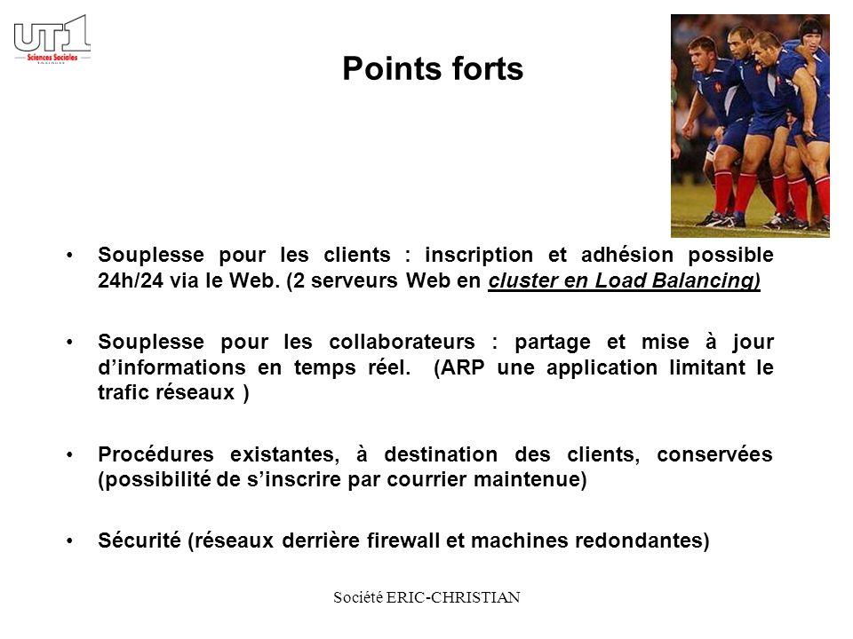 Société ERIC-CHRISTIAN Points forts Souplesse pour les clients : inscription et adhésion possible 24h/24 via le Web.