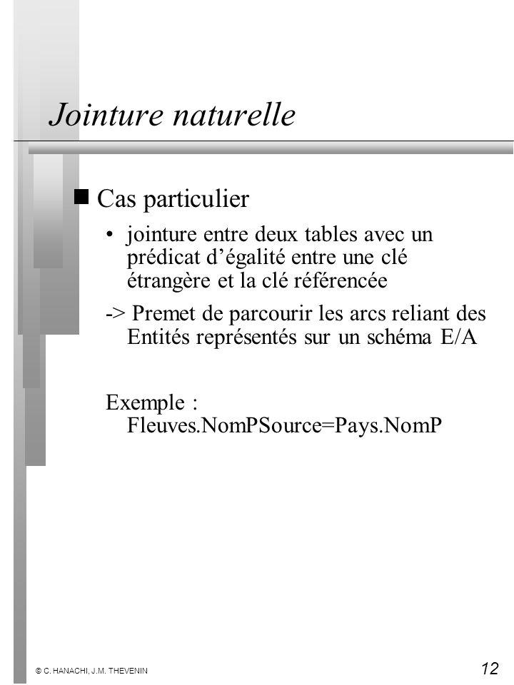 12 © C. HANACHI, J.M. THEVENIN Jointure naturelle Cas particulier jointure entre deux tables avec un prédicat dégalité entre une clé étrangère et la c