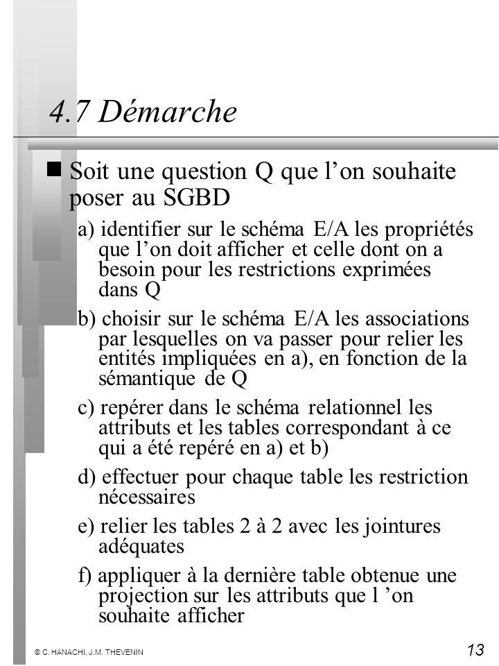 13 © C. HANACHI, J.M. THEVENIN 4.7 Démarche Soit une question Q que lon souhaite poser au SGBD a) identifier sur le schéma E/A les propriétés que lon