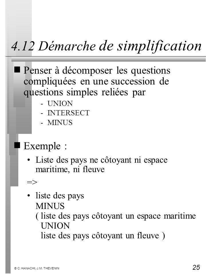 25 © C. HANACHI, J.M. THEVENIN 4.12 Démarche de simplification Penser à décomposer les questions compliquées en une succession de questions simples re