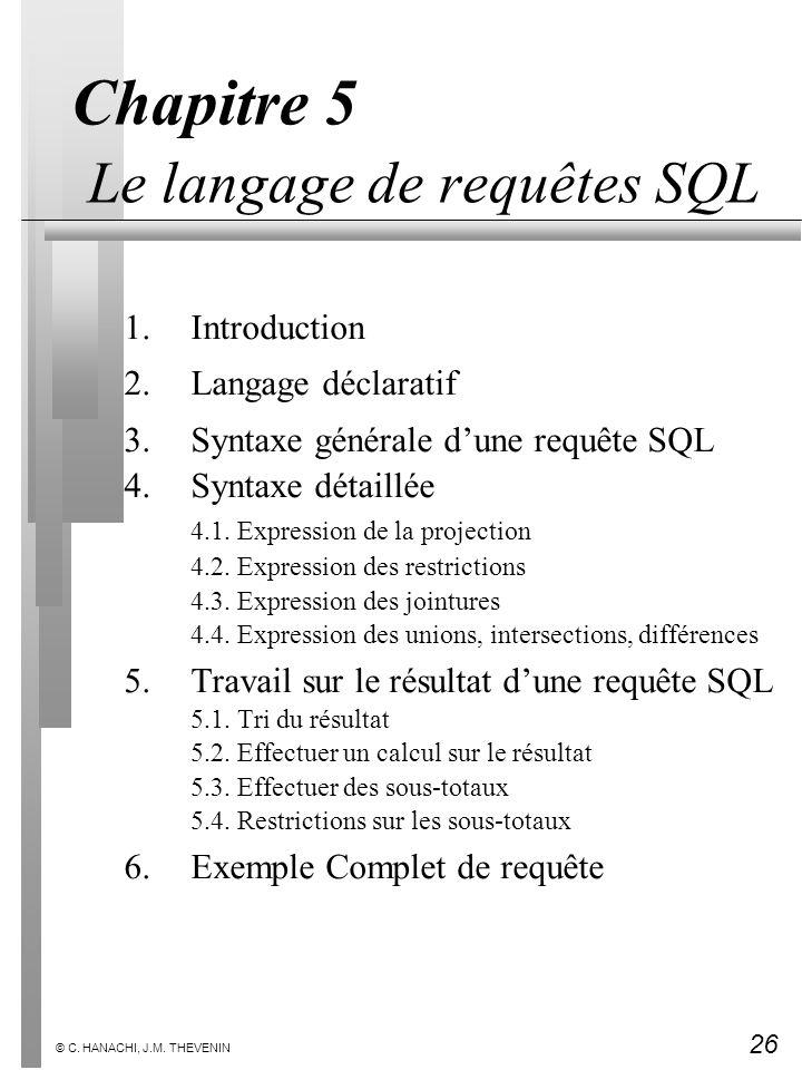 26 © C. HANACHI, J.M. THEVENIN Chapitre 5 Le langage de requêtes SQL 1.Introduction 2.Langage déclaratif 3.Syntaxe générale dune requête SQL 4.Syntaxe