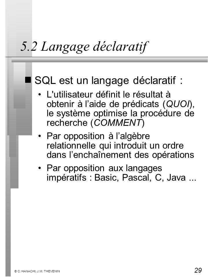 29 © C. HANACHI, J.M. THEVENIN 5.2 Langage déclaratif SQL est un langage déclaratif : L'utilisateur définit le résultat à obtenir à laide de prédicats