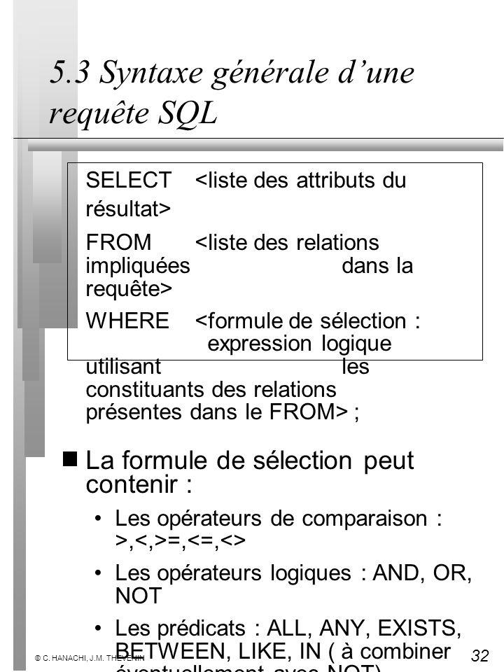 32 © C. HANACHI, J.M. THEVENIN 5.3 Syntaxe générale dune requête SQL SELECT FROM WHERE ; La formule de sélection peut contenir : Les opérateurs de com