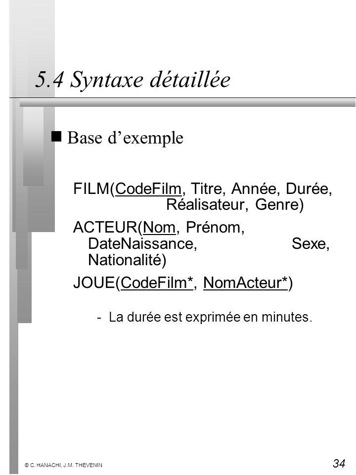 34 © C. HANACHI, J.M. THEVENIN 5.4 Syntaxe détaillée Base dexemple FILM(CodeFilm, Titre, Année, Durée, Réalisateur, Genre) ACTEUR(Nom, Prénom, DateNai