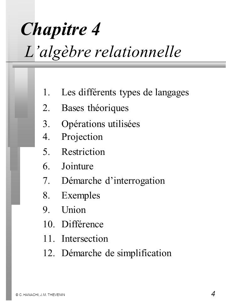 4 © C. HANACHI, J.M. THEVENIN Chapitre 4 Lalgèbre relationnelle 1.Les différents types de langages 2.Bases théoriques 3.Opérations utilisées 4.Project