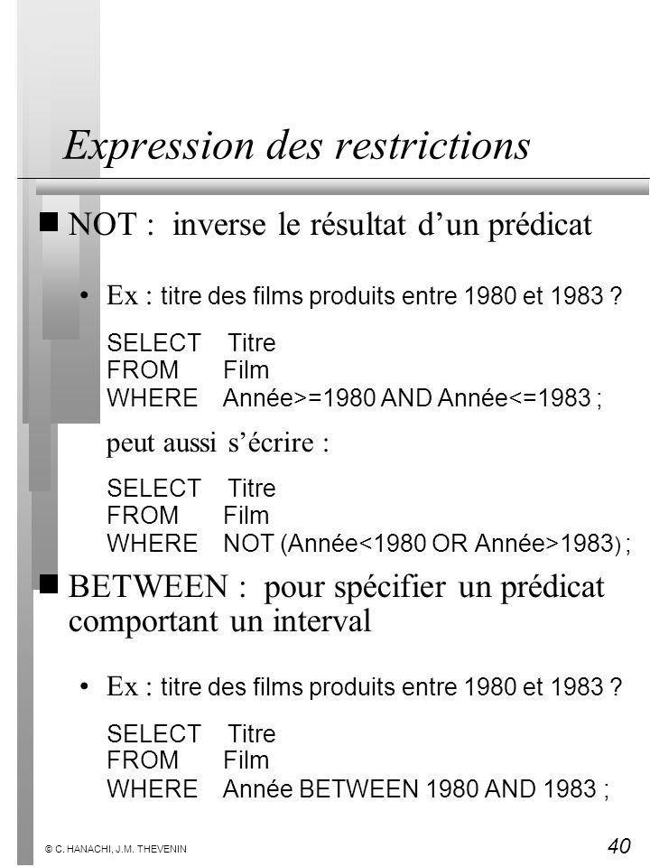 40 © C. HANACHI, J.M. THEVENIN Expression des restrictions NOT : inverse le résultat dun prédicat Ex : titre des films produits entre 1980 et 1983 ? S