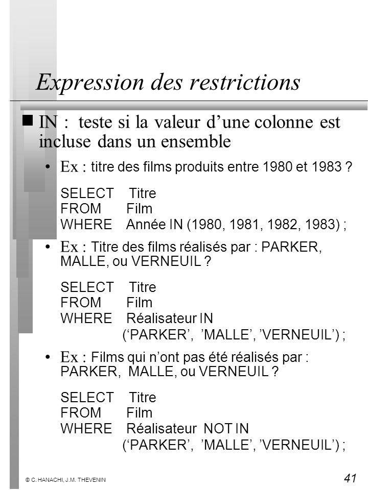 41 © C. HANACHI, J.M. THEVENIN Expression des restrictions IN : teste si la valeur dune colonne est incluse dans un ensemble Ex : titre des films prod