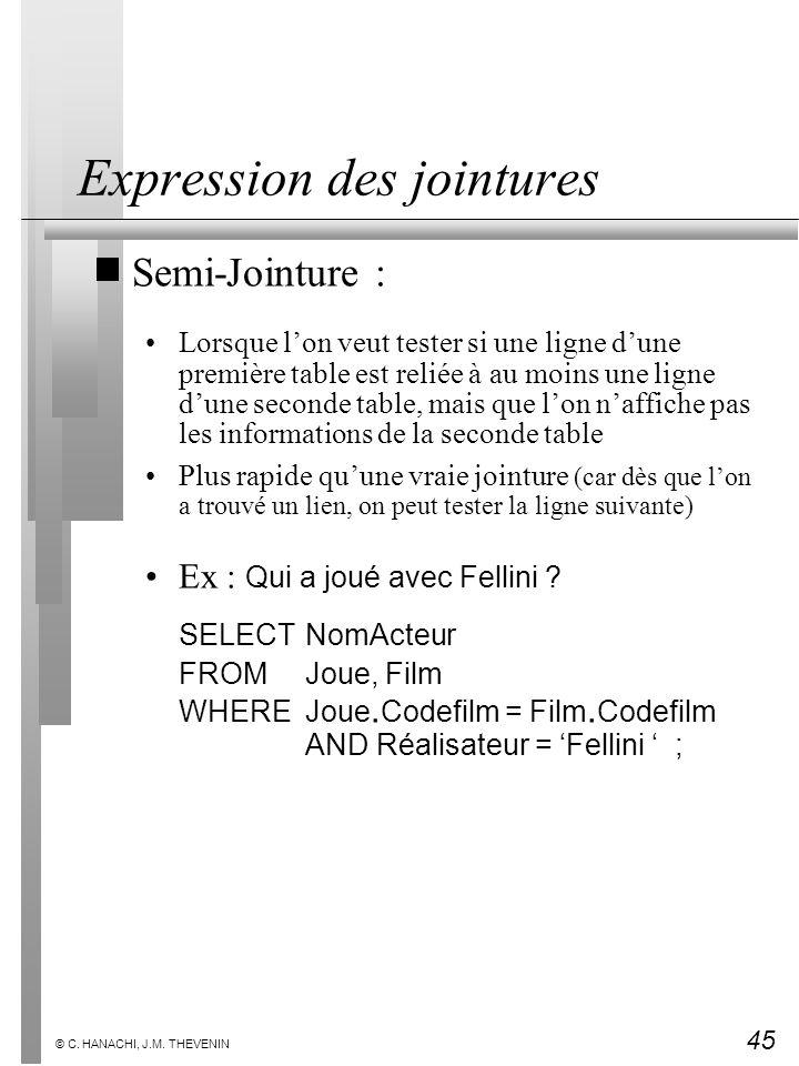 45 © C. HANACHI, J.M. THEVENIN Expression des jointures Semi-Jointure : Lorsque lon veut tester si une ligne dune première table est reliée à au moins