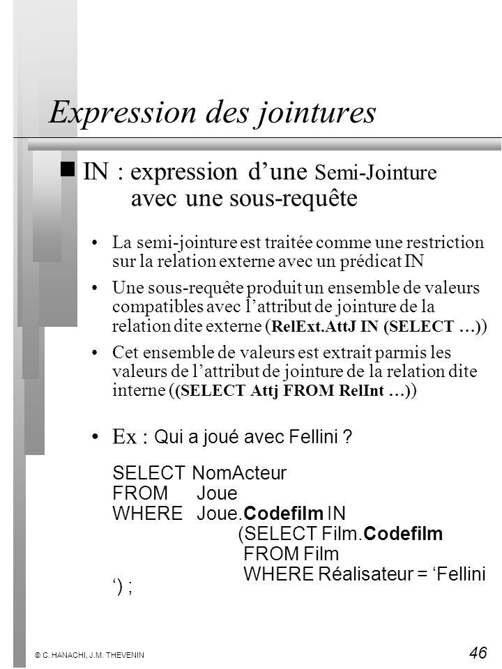 46 © C. HANACHI, J.M. THEVENIN Expression des jointures IN : expression dune Semi-Jointure avec une sous-requête La semi-jointure est traitée comme un