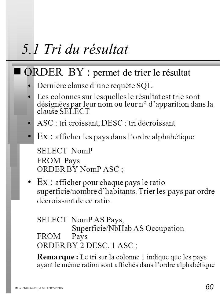 60 © C. HANACHI, J.M. THEVENIN 5.1 Tri du résultat ORDER BY : permet de trier le résultat Dernière clause dune requête SQL. Les colonnes sur lesquelle