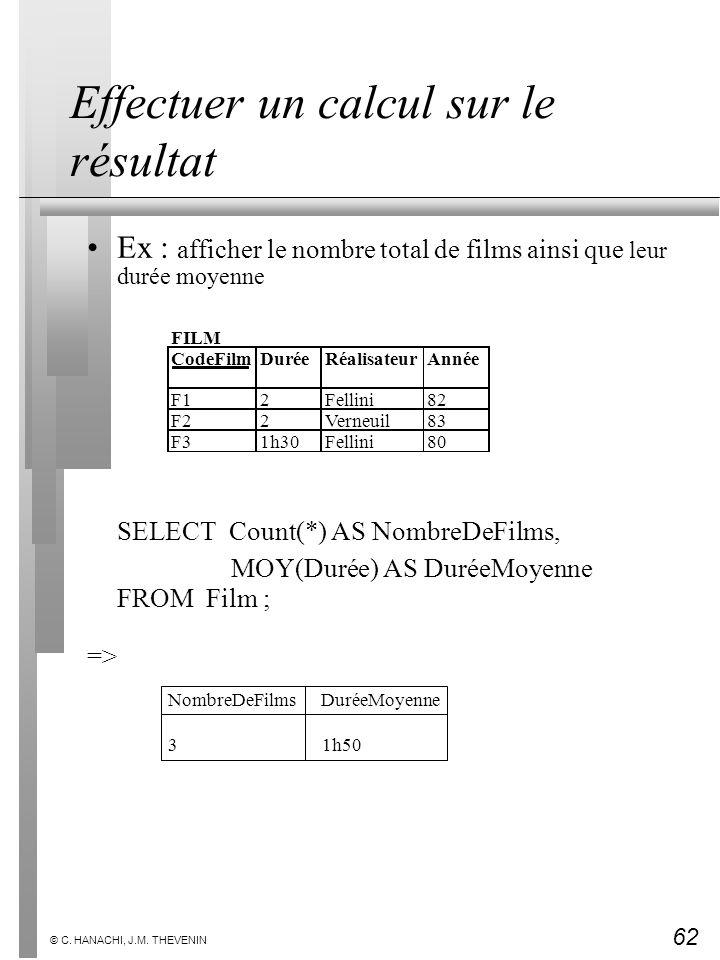 62 © C. HANACHI, J.M. THEVENIN Effectuer un calcul sur le résultat Ex : afficher le nombre total de films ainsi que leur durée moyenne SELECT Count(*)