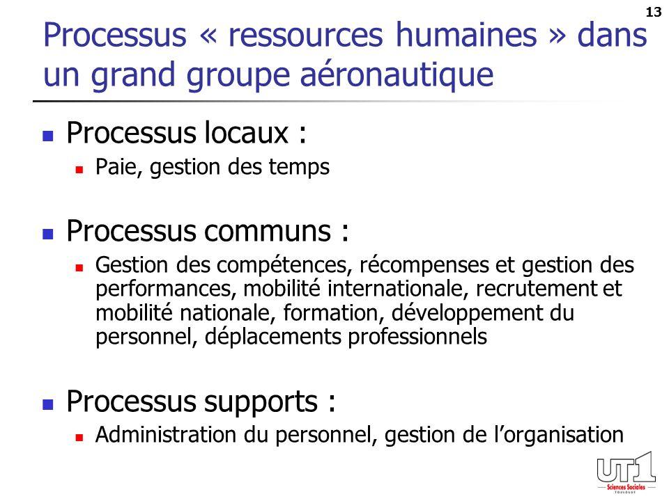 13 Processus « ressources humaines » dans un grand groupe aéronautique Processus locaux : Paie, gestion des temps Processus communs : Gestion des comp