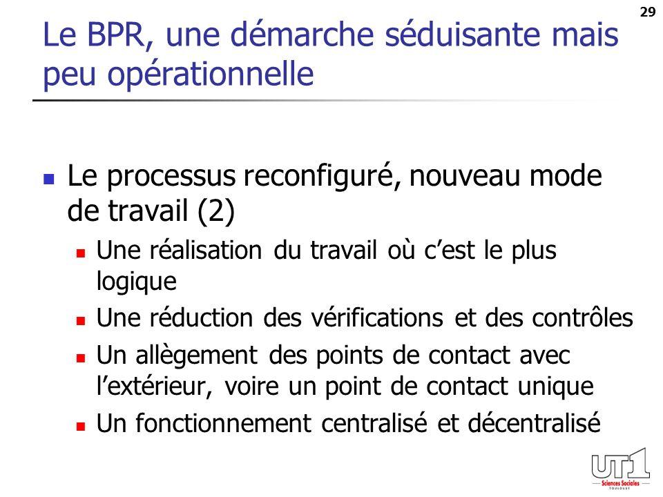 29 Le BPR, une démarche séduisante mais peu opérationnelle Le processus reconfiguré, nouveau mode de travail (2) Une réalisation du travail où cest le