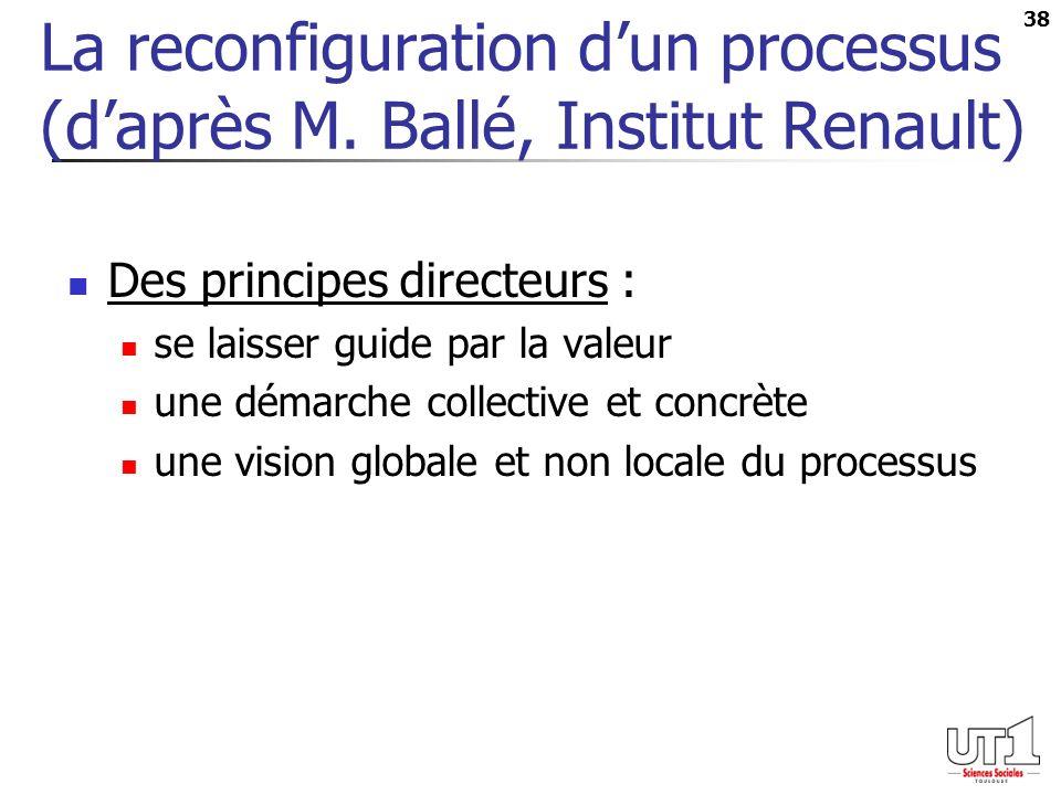 38 La reconfiguration dun processus (daprès M. Ballé, Institut Renault) Des principes directeurs : se laisser guide par la valeur une démarche collect