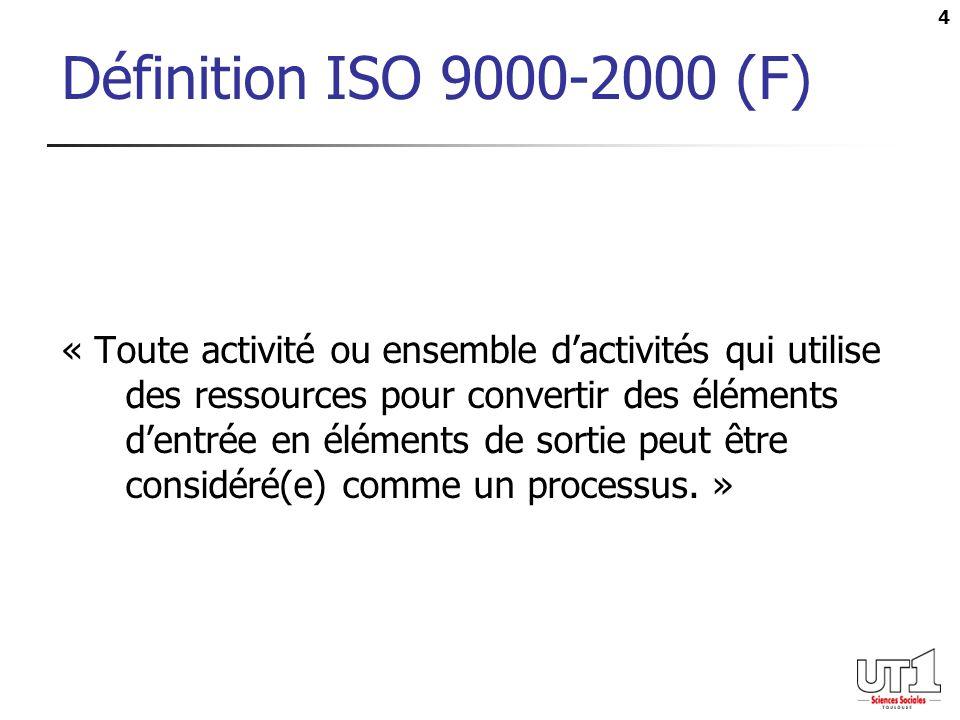 4 Définition ISO 9000-2000 (F) « Toute activité ou ensemble dactivités qui utilise des ressources pour convertir des éléments dentrée en éléments de s