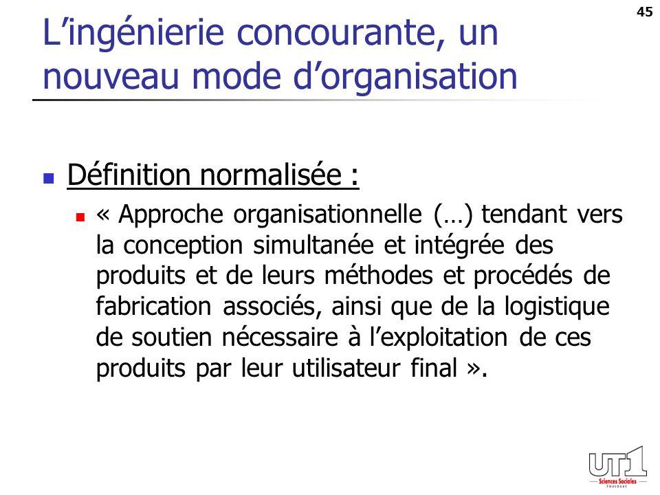 45 Lingénierie concourante, un nouveau mode dorganisation Définition normalisée : « Approche organisationnelle (…) tendant vers la conception simultan